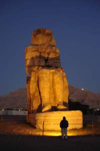 One of Colossi of Memnon just before dawn